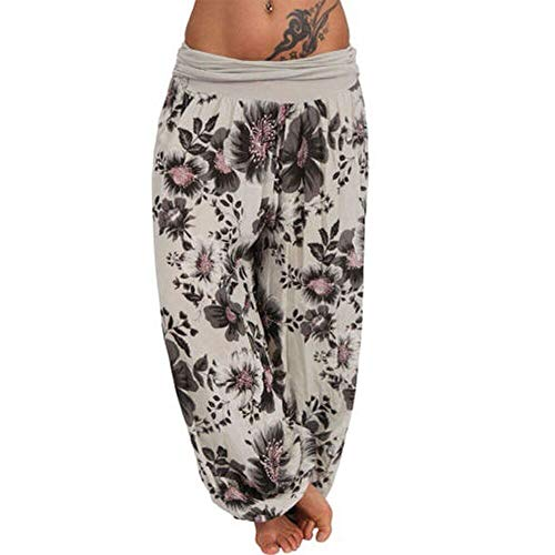 ZEFOTIM Women Plus Size Print Loose Casual Elastic Pants Cropped Full Length Trousers (M,B-Khaki)