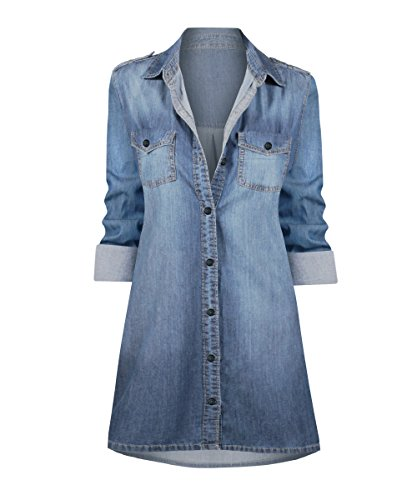 HOT FROM HOLLYWOOD Women's Button Down Long Sleeve Cotton Denim Casual Tunic Top (36' Relaxed Fit Jeans)