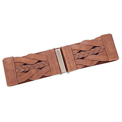 Fashion Wide Belt Braided Leatherette Women Cinch Belt (Brown, M) by PAUL JONES (Image #2)
