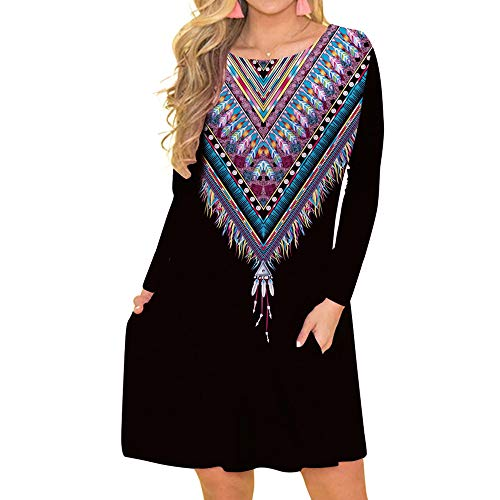 DEATU Hot Sale! Women Dress Ladies Casual Cool Chic Feather Printed O-Neck Long Sleeved Loose Knee-Length Dress with Pocket(Black,L)