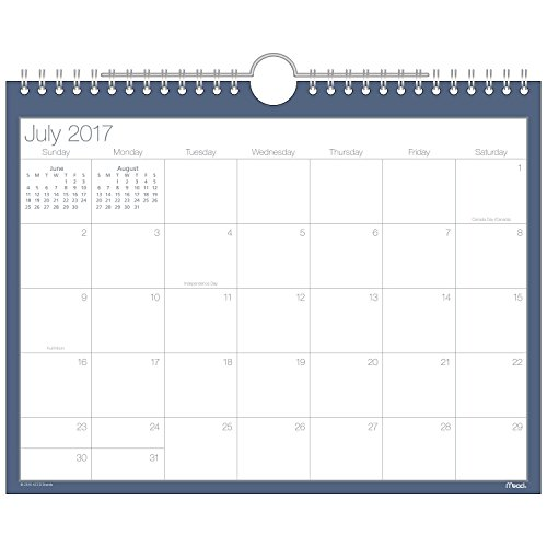 Mead Academic Monthly Wall Calendar, Basic, July 2017 - October 2018, 8-1/2' x 11', Wirebound, Navy (CAM20258)