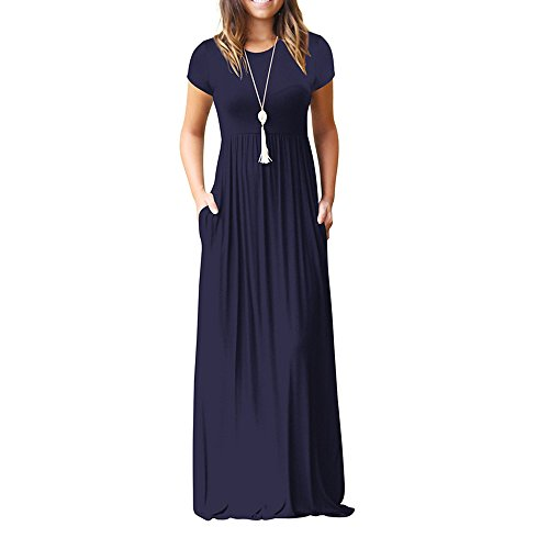- Ulanda Long Maxi Dresses Women Short Sleeve Loose Plain Maxi Dresses Casual Long Dresses with Pockets