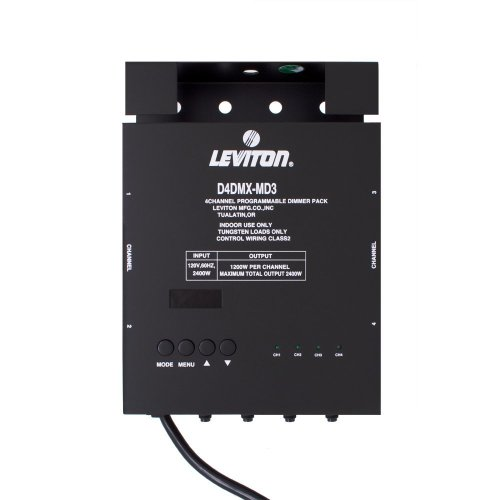Leviton D4DMX-MD3 4-Channel Programmable Dimmer Pack Integrating Stand-Alone, 3-Pin DMX 15A Power Cord - Dmx Dimmer Circuit