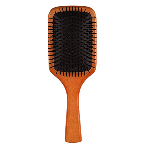 BEEGOO Hair Brush Natural Wooden Nylon Boar Bristles Paddle Hair Brush with Air Bag for Massage Scalp Comb, Detangling Anti Frizz Hair-brush for Head Beauty SPA Massager of All Hair Type