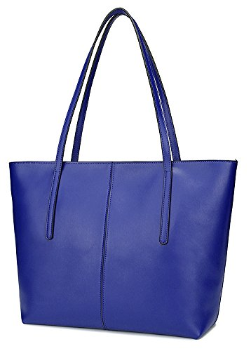 (Ilishop High Quality Women's New Fashion Handbag Genuine Leather Shoulder Bags Tote Bags Hot Sale NB121-blue)
