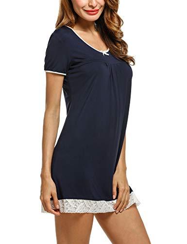HOTOUCH Women's Comfort Sleepwear Short Sleeve Cotton Sleep Dress Navy Blue L