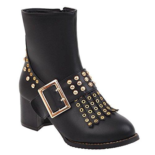 Charm Foot Womens Western Rivet Tassels Chunky Zipper Mid Heel Short Boots Black hUDIu