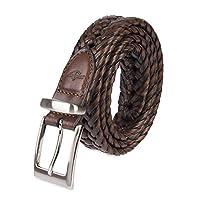 """Dockers - Cinturón con logotipo metálico trenzado con cordones, de 1 1/4 """"para hombres, marrón claro, 40"""