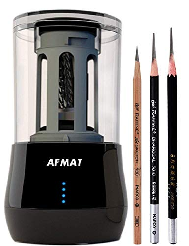 Long Point Pencil Sharpener, AFMAT Electric Pencil Sharpener, Rechargeable Heavy Duty Pencil Sharpener for Artists, Art Pencil Sharpener for 6-8mm Sketching and Drawing Pencils, 25mm Super Long Point