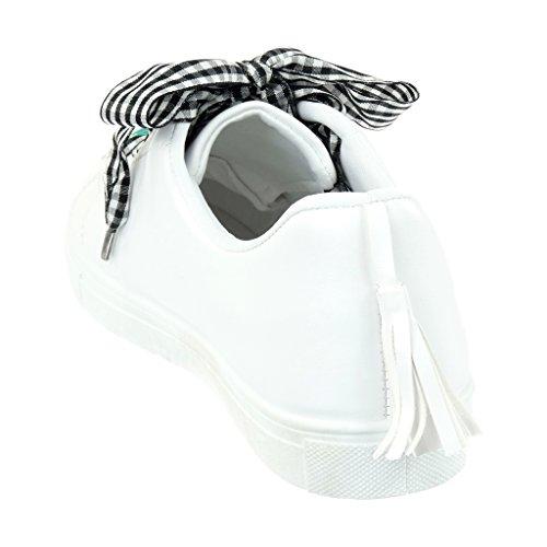 Angkorly - Zapatillas de Moda Deportivos Tennis mujer galón fleco fantasía Talón tacón plano 2.5 CM Blanco