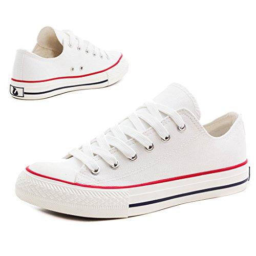 Femmes Unisexe Basses Rouge Montantes Blanc Classiques Hommes Baskets Chaussures OSqPvx5w