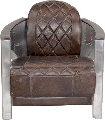 Casa-Padrino Art Deco Silla de Aluminio de Cuero marrón ...