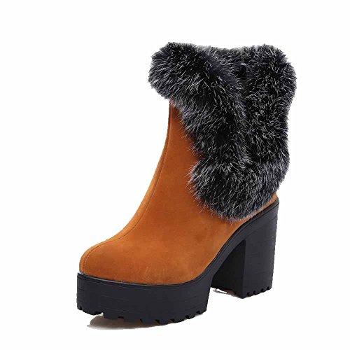Closed Round On Boots Women's Toe Frosted Low AgooLar Heels High Top Brown Pull PB6qqzx8Tw