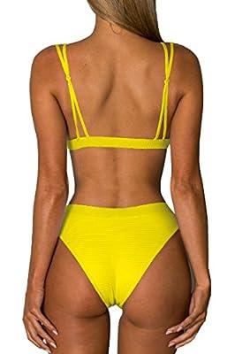 Almaree Women Scoop Neck High Waist Sporty 2 Piece Swimsuits Bralette Bikini Set