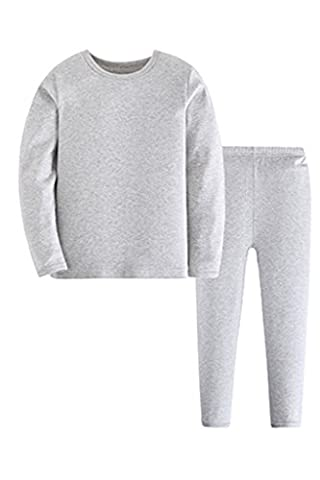 ASHERANGEL Kid Boys Solid Long Thermal Underwear Set 100% Cotton Pajamas Grey 4-5Y