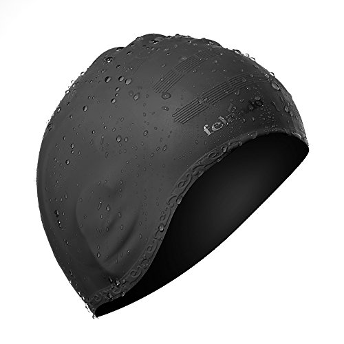 Felando Black Swimming Cap Silicone Swimming Cap Non-Toxic Anti-Allergy Does Not Pull Hair with 3D Ergonomic Design Ear Pockets for Adult Woman and Men