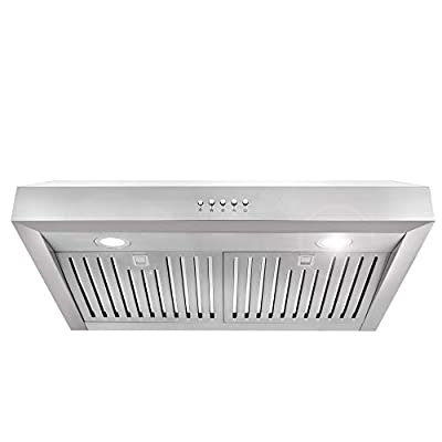 Cosmo UC30 30-in Under-Cabinet Range Hood 760-CFM with Ducted/Ductless Convertible Duct, Kitchen Over Stove Vent Light, 3 Speed Exhaust Fan, Dishwasher-Safe Permanent Filter
