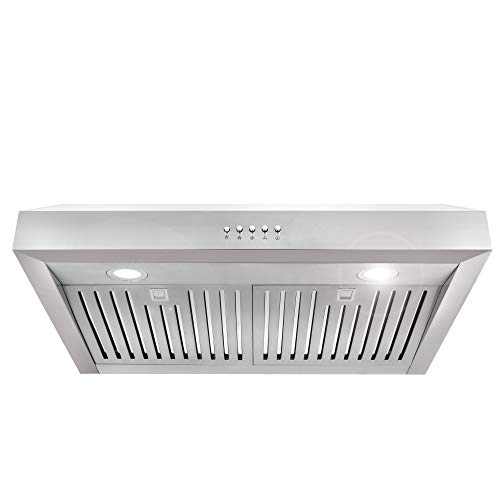 (Cosmo UC30 30-in Under-Cabinet Range Hood 760-CFM with Ducted / Ductless Convertible Duct , Kitchen Over Stove Vent Light , 3 Speed Exhaust Fan , Dishwasher-Safe Permanent Filter ( Stainless Steel ))