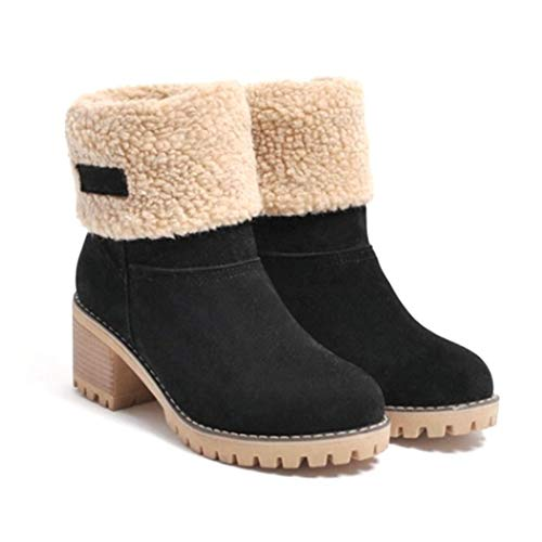 Sandinged Women Fashion High Heel Patchwork Zipper Winter Boots Snow Boots - http://coolthings.us