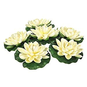 Sunm boutique Artificial Floating Foam Lotus Flowers, Artificial Water Lily Pads, Lotus Lilies Pad Ornaments for Patio Koi Pond Pool Aquarium Home Garden Wedding Party Holiday Garden Decor 74