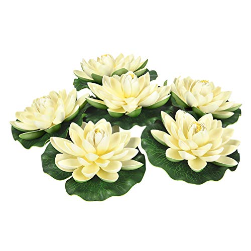 (Sunm Boutique Artificial Floating Foam Lotus Flowers, Artificial Water Lily Pads, Lotus Lilies Pad Ornaments for Patio Koi Pond Pool Aquarium Home Garden Wedding Party Garden Decor, 6Pcs, Ivory)