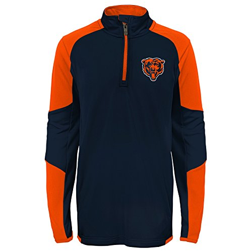 Bears Youth Apparel - NFL Chicago Bears Youth Boys Beta 1/4 Zip Performance Top, Deep Obsidian, Youth Medium(10-12)