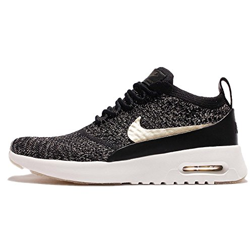 NIKE Women's Wmns Air Max Thea Ultra FK Mtlc, Black/Metallic Gold Star-Ivory, 6 US (Nike Air Max Womens Gold)
