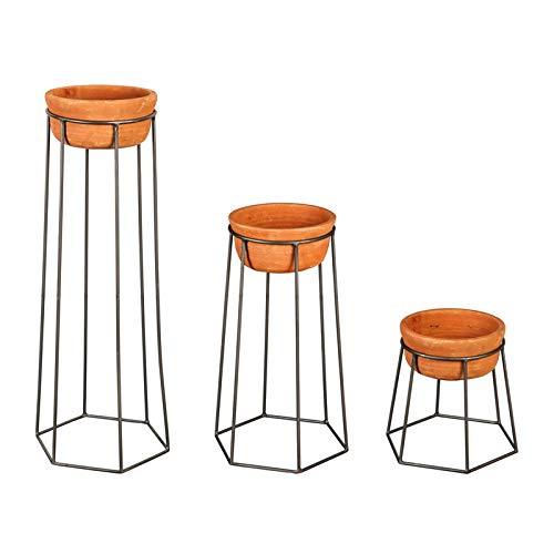 Cape Craftsmen 3 Terracotta Pots and Metal Holders