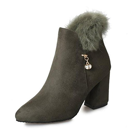HSXZ Toe Green Casual Army Fall Black Chunky Women's Heel Shoes Round Black Boots Bootie Nubuck ZHZNVX Comfort Spring leather for dxpfqdTO