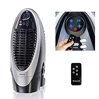 Image of Honeywell 300-412CFM Portable Evaporative Cooler, Fan & Humidifier with Ice Compartment, Carbon Dust Filter & Remote, CS10XE, Silver/Black
