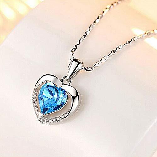 - Chockdeemeechai Simple Heart Style Titanic Ocean Blue Topaz Gemstone Silver Necklace Pendants