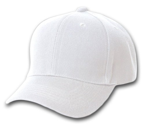 Ball Cap White (Plain Adjustable Baseball Cap White)