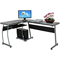 L-Shape Corner Computer Desk, Office Corner PC Table Workstation Furniture with Sliding Keyboard and CPU Trolley (148 x 112.5 x 74cm) (UK SOCK)