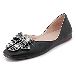 Women's Rhinestone Bowknot Ballet Shoes