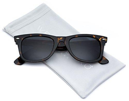 WearMe Pro - Classic Dark Lens Small Horn Rimmed Sunglasses (Tortoise Frame / Black Lens, - Wayfarer Small Sunglasses Frame