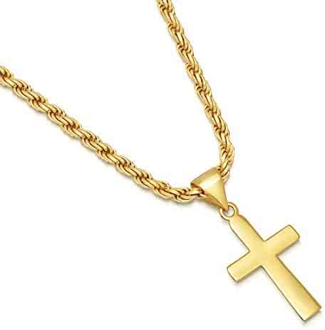 b3eb3d26f57a1c 14K Gold Plated Sterling Silver Plain Cross Pendant Italian 3mm Rope Chain  Necklace - Choice of