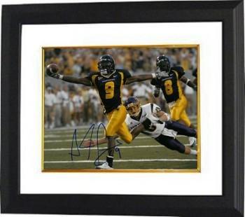 Autographed Pacman Jones Photograph - Adam 8x10#9 Custom Framed navy jersey) - Autographed College Photos