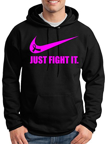 discount Breast Cancer Awareness 'Just Fight It ribbon.' Hoodie by MYOS big discount