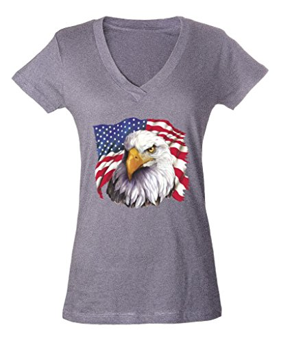 USA Flag Eagle Theme Ladies V-Neck T-shirt 4th of July Proud Nation Shirts Small Sports Grey f5 (July Womens V-neck T-shirt)