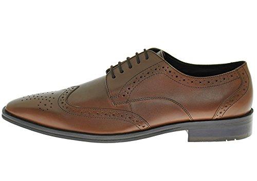 Natazzi Handgemaakte Heren Leren Schoen Gabbana Rosato Wingtip Oxford Cognac Brown