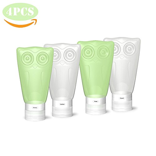 Price comparison product image VelPal Travel Bottles Silicone, Travel Kit, Leak Proof, BPA Free, TSA Approved, Set of 4 PCS with Clear Toiletry bag, 3 fl oz/83ml Owl Container for Shampoo/Conditioner/Lotion/Honey/Toiletries