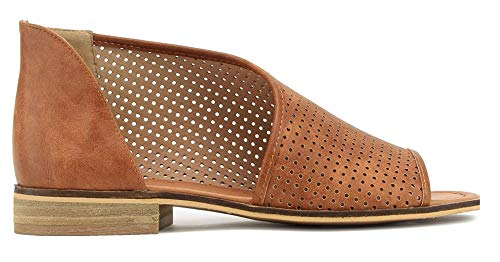 Beast Fashion Lotus-01 Women D'Orsay Slip On Open Toe Extreme Cut Out Ankle Flat Bootie (11, Cognac Laser Cut)]()
