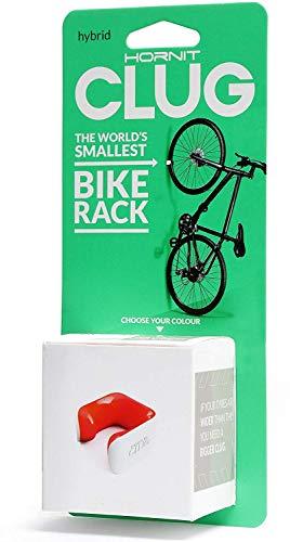 (CLUG Bike Clip Indoor Outdoor Hybrid Bicycle Rack Storage System, White/Orange, 33-42mm)