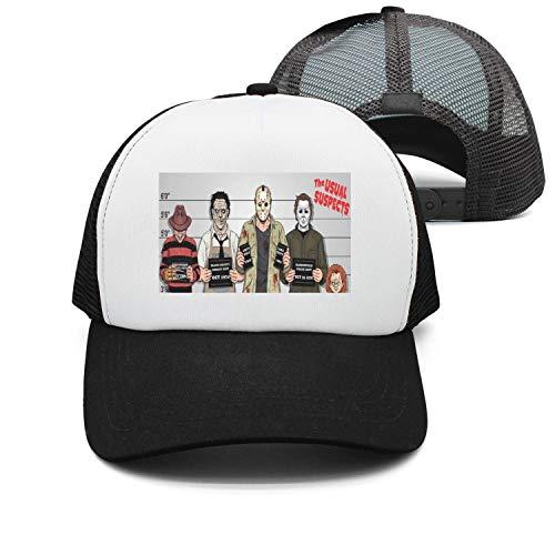 The Usual Horror Suspects Halloween Twill Mesh Unisex Trucker Hat black -