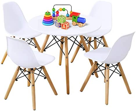 HAPPYGRILL 5-Pieces Kids Table Chairs Set Modern Style Toddler Children Dining Gaming Table Set
