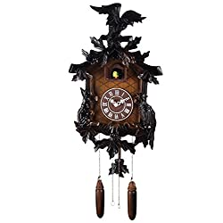 Maple Clocks Deluxe 17-inch Eagle Carving Three-Dimensional Modeling Cuckoo Clock, Quartz Timepieces - C00190