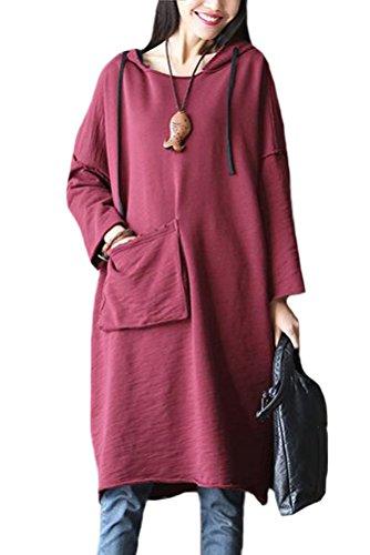 [해외]프론트 큰 주머니가있는 Mordenmiss 여성의 새로운 느슨한 롱 탑면 드레스/Mordenmiss Women`s New Loose Long Top Cotton Dress With Front Big Pocket
