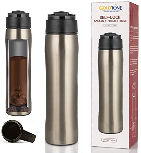 GoldTone Brand Portable French Press Vacuum Insulated Travel Mug - Double Walled French Press Tea/Coffee Maker - Premium Stainless Steel - 350 mL / 12 fl oz (Silver)