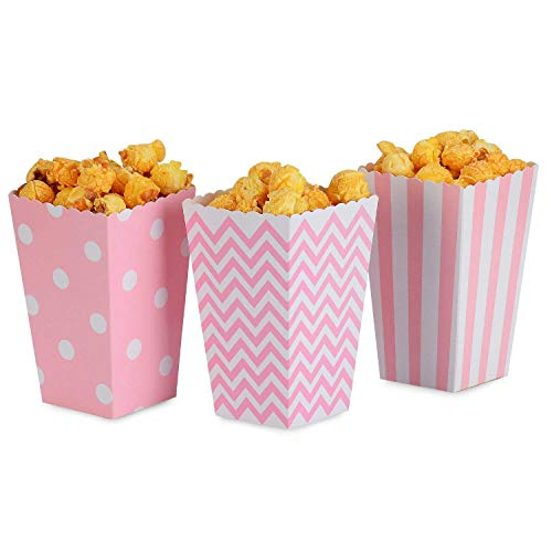 Disposable Party Tableware - Popcorn Boxes Pink Trio 36 Pack Polka Dot Chevron Stripe Treat Small Movie Theater Paper Bags - Disposable Tableware ()