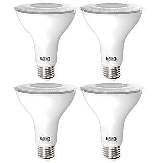 Sunco Lighting 4 Pack PAR30 LED Bulb, Dusk-to-Dawn Photocell Sensor, 11W=75W, 3000K Warm White, 850 LM, Auto On/Off Security Flood Light - UL